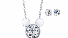 MICKEY MOUSE CRYSTAL LAUGHTER IS TIMELESS SCRIPT ON REVERSE NECKLACE EARRING SET