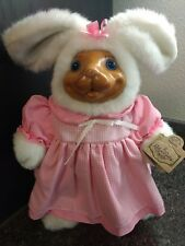 """1992 Robert Raikes Bears Easter Bunny Rabbit Doll PAULETTE Wooden Face 13"""""""