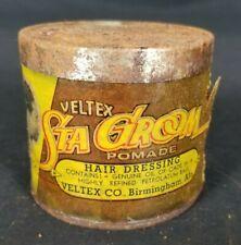 Vintage Veltex Sta Groom Pomade 3 oz Tin Can Mens Hair Dressing Advertising
