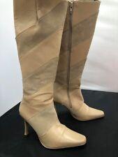 Ladies Faith Beige Leather Suede Stripe Knee-Length Heel Boots SIZE 5 GA 1196