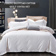 QUEEN 1000TC Egyptian Cotton White Quilt Duvet Doona Cover Pillowcase Set WHITE