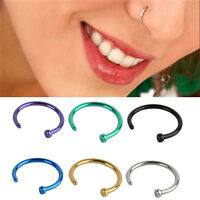 Fashion 2pcs Stainless Steel Open Hoop Nose Ring Earring Body Piercing Jewelry