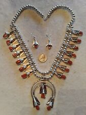 NAVAJO LOUISE YAZZIE Squash Blossom Necklace Earring Sterling RED CORAL Huge 24""