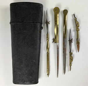 Antique Georgian Shagreen Etui, Drafting Tool Kit, Architect or Cartography Box