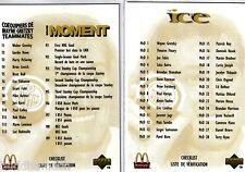1998/99 McDONALDS 2 CARD CHECKLIST, 1 FOR BASE SET, 1 FOR INSERT SETS