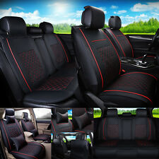 PU Leather 5 Seats Auto Car Seat Cover Black W Red Size M NeckLumbar Pillow Fits 1997 Toyota Corolla