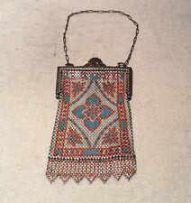 Mandalian USA Antique Silver Plated Red White & Blue Enamel Mesh Purse