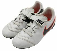 Nike JR Tiempo Rio III Youth Boys Black Gray Orange Soccer Cleats Shoes Size 13C