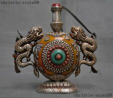 """8""""Old Tibet Silver inlay Beeswax Turquoise Red Coral Dragon Loong Snuff Bottle"""