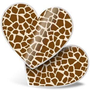 2 x Heart Stickers 7.5 cm - Giraffe Pattern Print Africa Animal  #14483