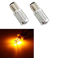 2X 1156 BAU15S PY21W LED Daytime Running Light Amber Yellow Light Bulbs·33SMD~