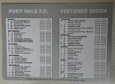 Port Vale Fixture Card 2003 - 2004 Excellent