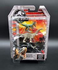 Dilophosaurus Apatosaurus Indoraptor Jurassic World Mini Dino Action 3 Pack New