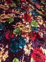 """Green Embossed Rose Floral Print Velvet Dress Upholstery Fabric 58"""" Wide Stretch"""