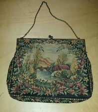 Vintage Needlepoint Purse/ Made in France/ 1940's