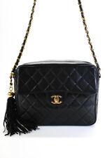 Chanel женская стеганая кожи ягненка камеры нап��ечная сумка чер��ый 0G71IK7078