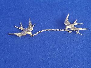 Rare H/M 1898 9ct Gold Double Bluebirds of Happiness Brooch w Fine Chain 3.7g
