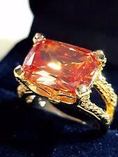 unisex Bronze  topaz quartz  18K YELLOW GOLD filled ring size 10 us