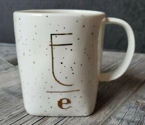 Anthropologie Gilded Gold Spots E Letter Monogram Stoneware Mug Personality