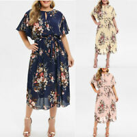 Plus Size Fashion Women Ladies Floral Printed O-Neck  Short Sleeve Casual Dress