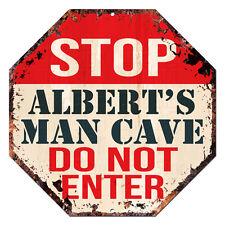 OTGM-0054 STOP ALBERT'S MAN CAVE Tin Rustic Sign Man Cave Decor Gift Ideas