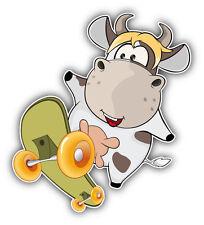 Funny Cow Skater Car Bumper Sticker Decal 4'' x 5''