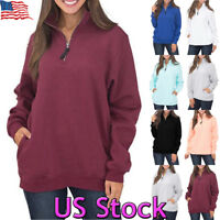 Womens Zip Hoodie Long Sleeve Sweatshirt Pullover Tops Hooded Jumper Casual Coat