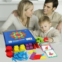 Montessori Wooden Puzzle Jigsaw Toys Tangram For Kids Educational 155PCS