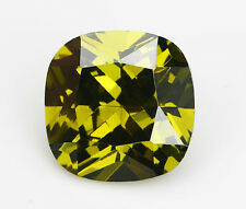 10X10mm 5A 7.89ct Olive Green Sapphire Square Cushion Faceted Cut VVS Loose Gem