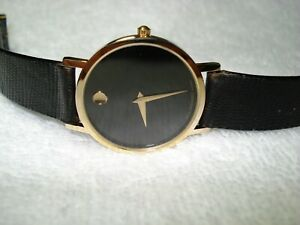 MOVADO Museum Men's Black 30mm Dial Case Swiss Made Watch New Battery $1