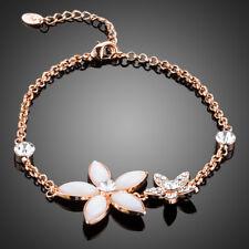 18K Gold GP Made With Swarovski Crystal Elements Flower Chain Bangle Bracelet