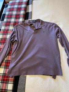 Polo Ralph Lauren Men's Purple Long-Sleeved Polo Shirt, XL