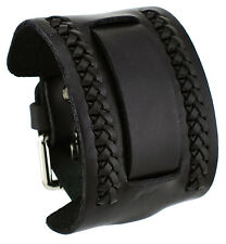 Nemesis NW-K 24 mm Lug Width Black Wide Leather Cuff Wrist Watch Band