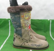 beige Hot Ed hardy Women mid-calf Suede Sexy Boots Size 9