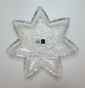 """Mikasa Christmas Carol 13"""" Frosted Star Glass Server Serving Plate Platter Tray"""