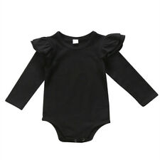 LK _ bebé recién nacido Informal Niñas VOLANTES DE MANGA LARGA Pelele Solid