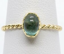Handmade Bezel Set Green Teal Tourmaline Stack Ring in18k Gold with Twisted Rope