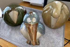 Three Adorable Looking Birds Ceramic Green Yellow Blue