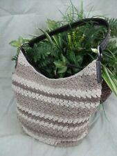 Beige and Tan Crochet Shoulder Handbag Purse - Bucket Style - Medium Size - P016
