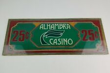 "Alhambra Casino Aruba glass 25 Cent Slot machine topper sign 20"" nice condition"