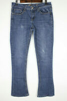 Seven7 Rocker Slim Womens Size 6 Bootcut Distressed Blue Jeans Gold Stiching