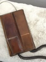 Vintage Northern Telecom Brown Leather Push Button Telephone Desk Or Wall Phone