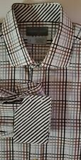 Thomas Dean Tattersall Plaid Flip Cuff Spread Collar LS Button Down Shirt Large