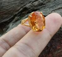 925 Sterling Silver Oval Shape Natural Citrine Solitaire Prong Set Handmade Ring