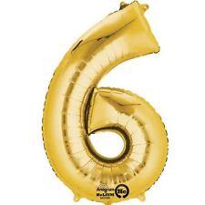 """Numero 6 Gold Foil Balloon 16"""" 40cm Aria Riempire Nome Età Compleanno Anniversario"""