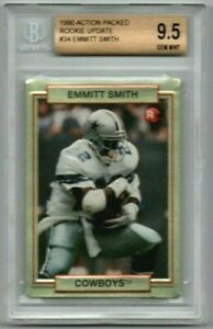 EMMITT SMITH 1990 ACTION PACKED #34 ROOKIE UPDATE BGS 9.5 GEM MINT RC SP COWBOYS