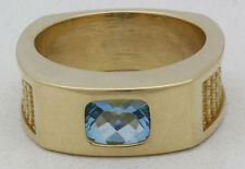 AT&T 10k Yellow Gold & Blue Topaz Service Award Ring By O.C. Tanner Size 10.75!