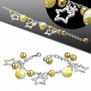 Bracelet Made Of Alloy Fashion IN Alloy Gold Yellow With Pearl Glass, Star Or