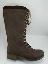 Maurices Nadine Brown Faux Fur Lace Up Side Zip Mid-Calf Riding Boots Womens 10M