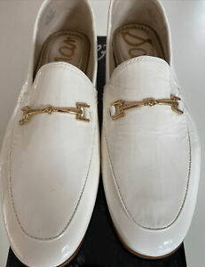 Sam Edelman Womens Loraine Patent Leather Embellished Loafers 9.5W White Crinkle